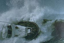 Tsunami image of a rocked ship