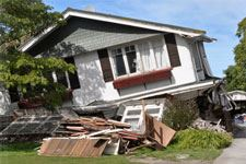 Earthquake image of a crashed house